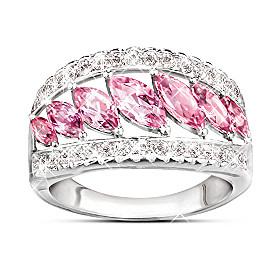Starlight Elegance Pink Topaz & Diamond Ring