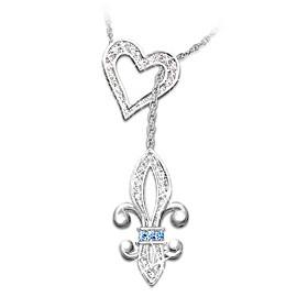 Fleur de Lis Crystal Necklace