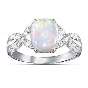 Shimmering Elegance Opal And Diamond Ring