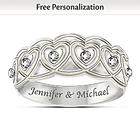 Hearts Full Of Diamonds Personalized Ring