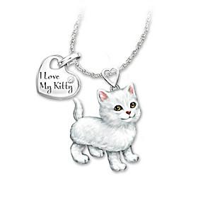 White Frisky Kitty Diamond Pendant Necklace