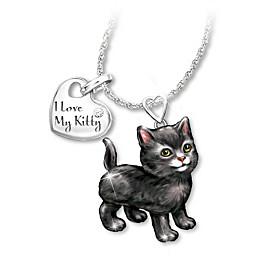 Black Frisky Kitty Diamond Pendant Necklace