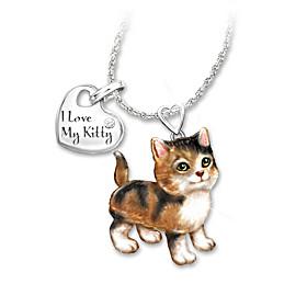 Calico Frisky Kitty Diamond Pendant Necklace