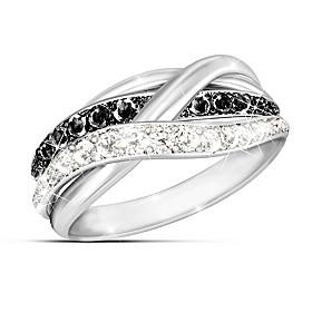Black and White Diamond Ring Size 11