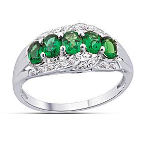 Charisma Green Garnet & Diamond Ring