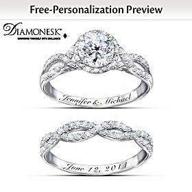 Entwined Diamonesk Personalized Bridal Ring Set