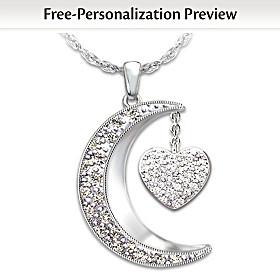 I Love My Family Personalized Diamond Pendant Necklace
