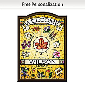 Canadian Provincial Flowers Personalized Welcome Sign