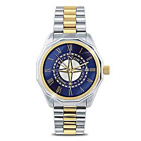 True North Etched Compass Design Men's Watch
