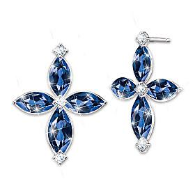Promise Of Faith Blue Sapphire And Diamond Earrings
