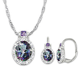 Alluring Beauty Pendant Necklace And Earrings Set