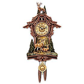 Whitetail Gathering Cuckoo Clock