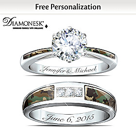 Camo Personalized Bridal Ring Set