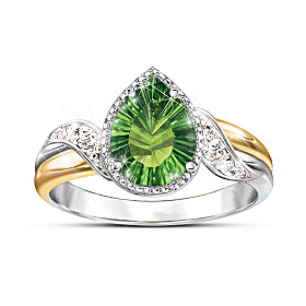 Radiant Treasure Helenite And Diamond Ring