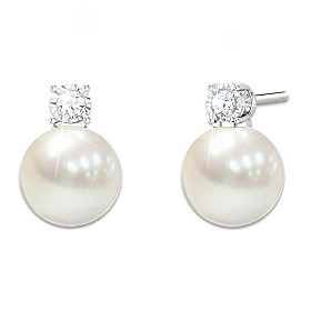Precious Granddaughter Cultured Pearl And Diamond Earrings