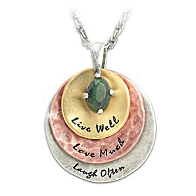 Live Well, Love Much, Laugh Often Pendant Necklace