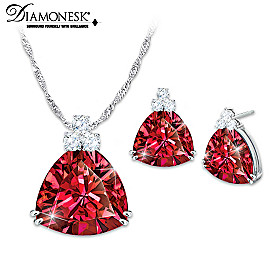 Rarest Red Pendant Necklace And Earrings Set