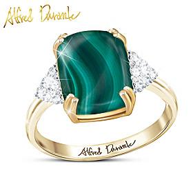 Majestic Malachite Gemstone And Diamond Ring