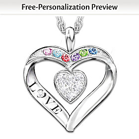 Surrounded By Love Personalized Diamond Pendant Necklace