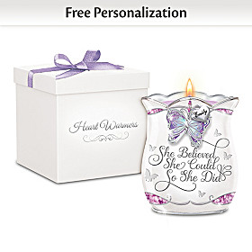 She Believed She Could Personalized Candleholder