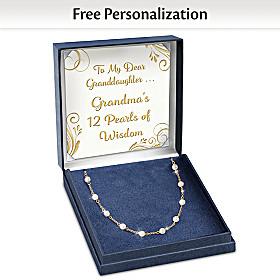Grandma's 12 Pearls Of Wisdom Personalized Necklace