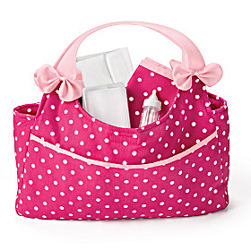 Polka Dot Diaper Bag Baby Doll Accessory Set