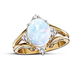 Radiant Enchantment Australian Opal And Diamond Ring