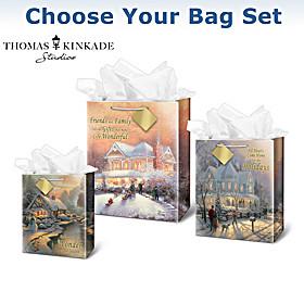Thomas Kinkade Christmas Gift Bag Set