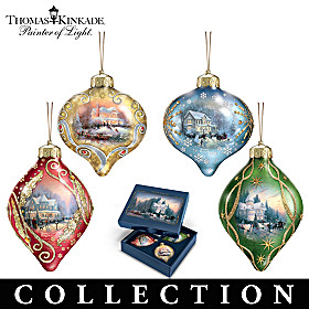Thomas Kinkade Light Up The Season Ornament Collection