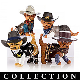 Spurs 'N Fur Yorkie Cowboy Figurine Collection