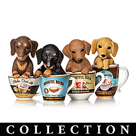 Kayomi Harai Dachshund Coffee Pups Figurine Collection