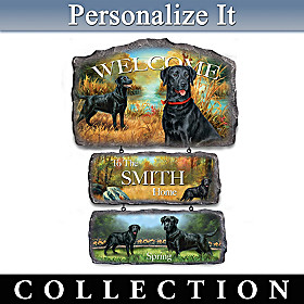 Lovable Black Labs Personalized Welcome Sign Collection