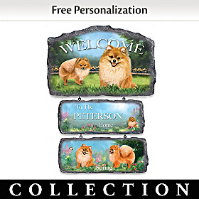 Lovable Pomeranians Personalized Welcome Sign Collection