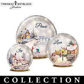 Thomas Kinkade Winter Treasures Glass Globe Collection
