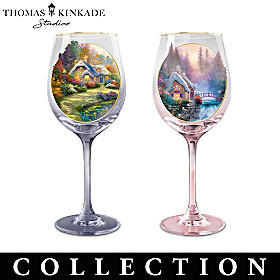 Thomas Kinkade Simple Joys Wine Glass Collection