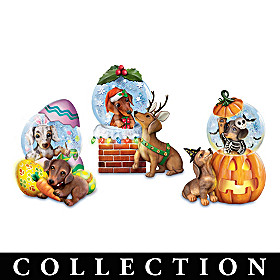 Holiday Dachshund Puppy Waterglobe Collection