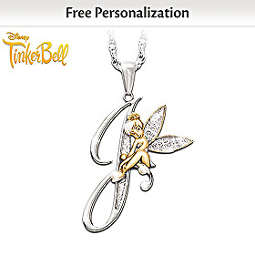 Tinker Bell Initial Pendant Necklace