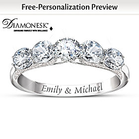Diamonesk Personalized Anniversary Ring