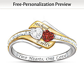 Two Hearts Become One Personalized Gemstone & Diamond Ring