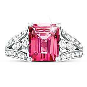 Luxury Pink Topaz & Diamond Ring
