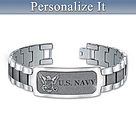 Navy Pride Personalized Men's Bracelet