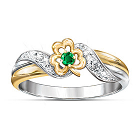 Lucky Shamrock Emerald & Diamond Ring