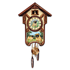 Playful Pugs Cuckoo Clock
