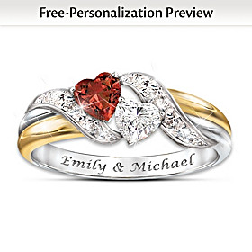 Hearts Of Love Personalized Women's Ring