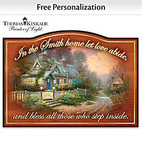 Thomas Kinkade Let Love Abide Personalized Welcome Sign