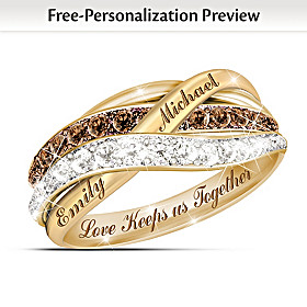 Together In Love Personalized 18K Gold-Plated Diamond Ring