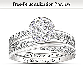 Love's Embrace Personalized Diamond Bridal Ring Set