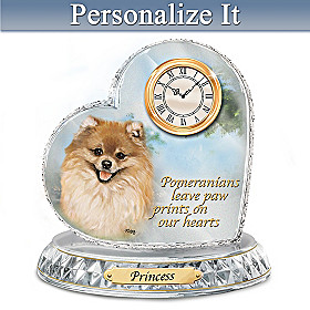 Pomeranian Crystal Heart Personalized Clock