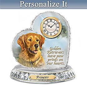 Golden Retriever Crystal Heart Personalized Clock
