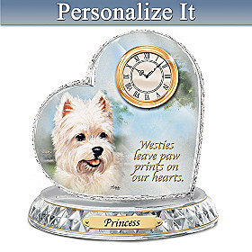 Westie Crystal Heart Personalized Clock